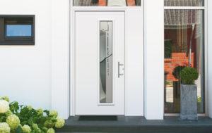 porte en aluminium blanche avec poignée décorative