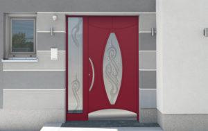 Porte aluminium rouge avec poignée décorative