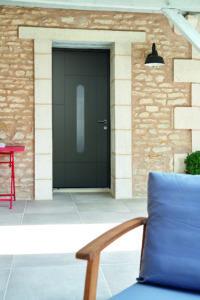 Porte d'entrée mixte bois aluminium