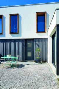 Porte d'entrée mixte bois aluminium grise anthracite