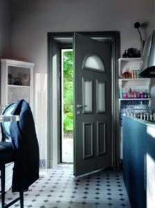 Porte d'entrée mixte bois aluminium traditionnelle